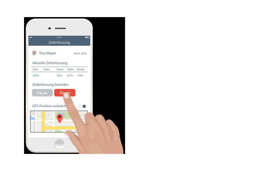 Mobile Zeiterfassung per App mit GPS-Ortung bei Bedarf