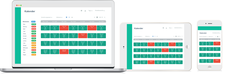 Online shift planner available anywhere and on any device