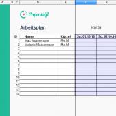 Arbeitsplan Excel Vorlage