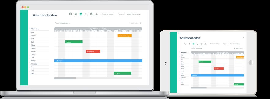 Der Online Urlaubsplaner von Papershift auf jedem mobilen Endgeraet nutzbar