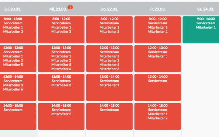 Vorschau Dienstplan Vorlage einfaches Servicecent mit Zeitslots