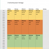 Excel Vorlagen: 3 Schichtsystem Template
