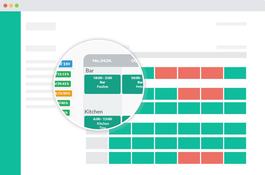 online workforce scheduling software from Papershift - sort the working areas easily