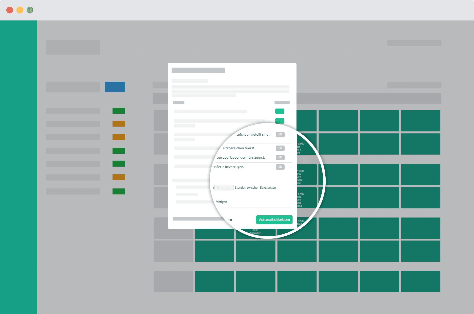 Detailaufnahme des Popups für automatische Dienstplanung