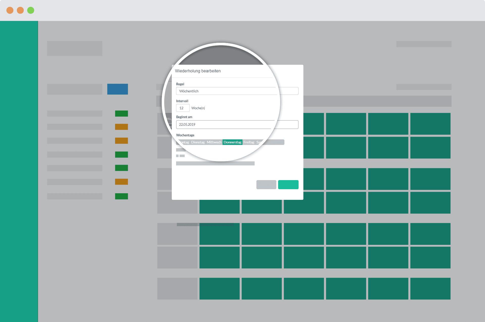 Detailaufnahme des Popups für Serien Belegung im Papershift Dienstplan Kalender