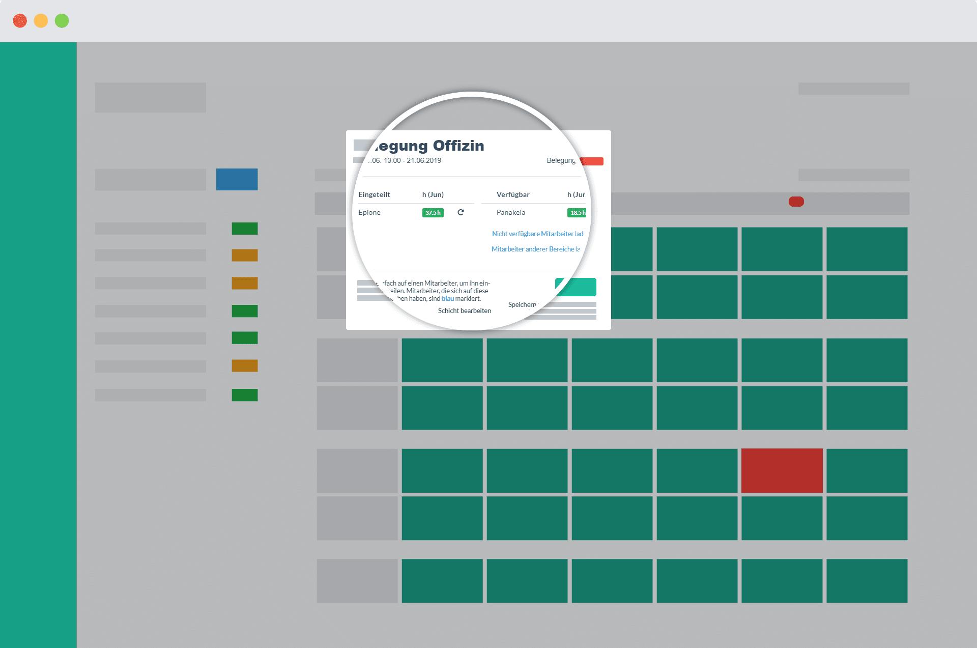 Detailaufnahme des Popups für die Zuweisung von Mitarbeitern auf Schichten im Papershift Dienstplan Kalender