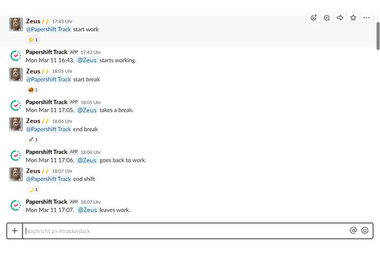 Screenshot eines Slack Chats, mit einer Papershift Integration für Zeiterfassungen