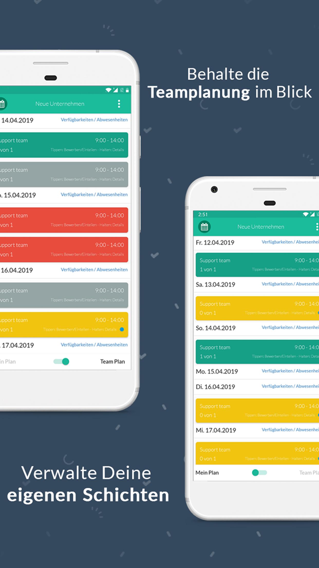 Mit der Plan App von Papershift kannst Du sowohl Deinen persönlichen Dienstplan verwalten, als auch den Dienstplan Deines Teams im Blick behalten - all das einfach und bequem von Deinem Smartphone oder Tablet aus