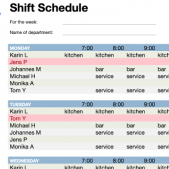 Team shift schedule generator for free download from Papershift