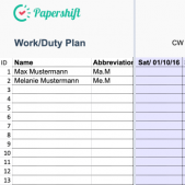 Weekly rota and team rota schedule generator free excel template download from Papershift