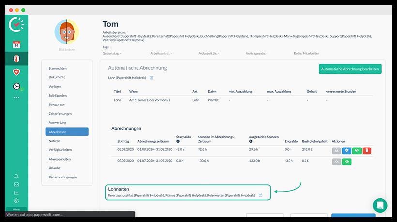 Lohnabrechnung mit Papershift: Darstellung der Zuordnung von Lohnarten zu Mitarbeitern