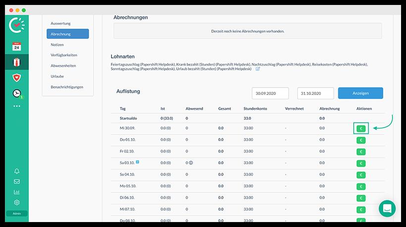 Lohnabrechnung mit Papershift: Darstellung der manuellen Abrechnung