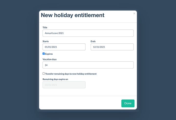 Calculate holiday entitlement for zero hours contract with Papershift