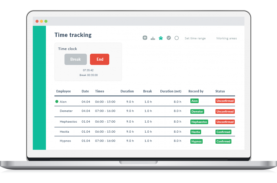 Working hours calculator on the browser by Papershift software