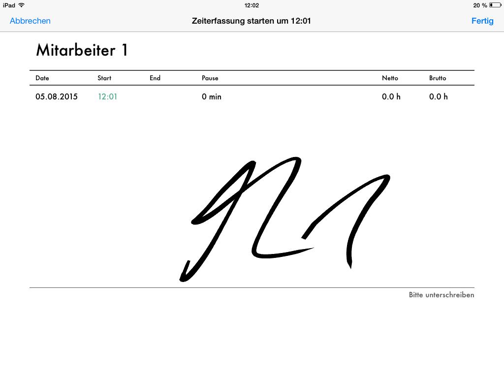 Darstellung Stempeluhr App Verifizierung