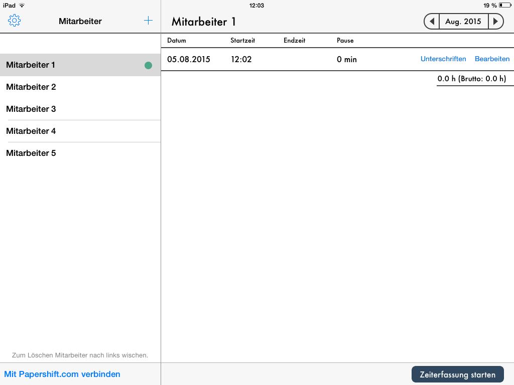 Darstellung Stempeluhr App Arbeitszeiten