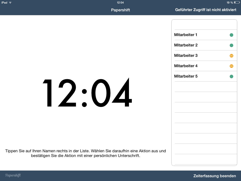 Darstellung Stempeluhr App Homescreen