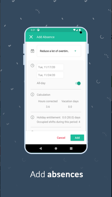 Móvil con la app de Papershift para gestion de ausencias