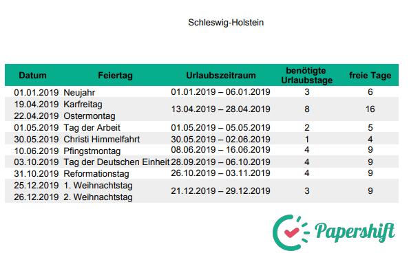 Urlaubsplanung Brückentage 2019 Schleswig-Holstein