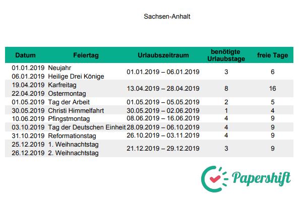 Urlaubsplanung Brückentage 2019 Sachsen-Anhalt