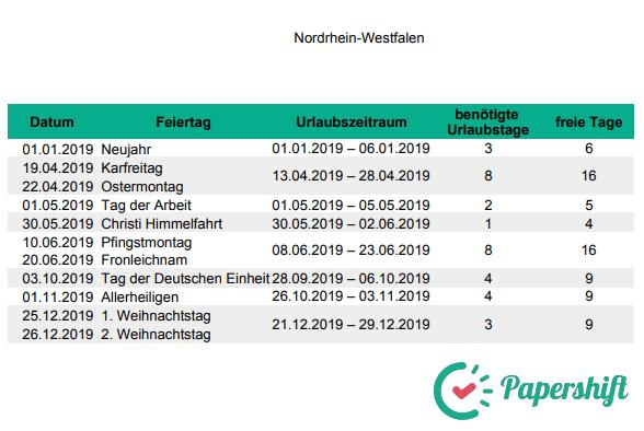 Urlaubsplanung Brückentage 2019 Nordrhein-Westfalen