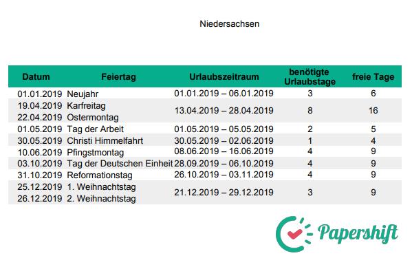 Urlaubsplanung Brückentage 2019 Niedersachsen