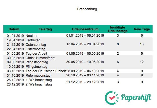 Urlaubsplanung Brückentage 2019 Brandenburg