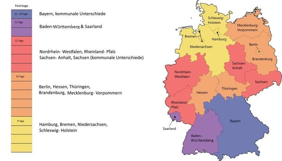 Feiertage in Deutschland als Übersicht der Bundesländer